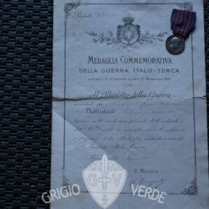 Diploma e Medaglia Guerra Italo-Turca 21° regg. fanteria