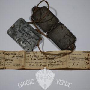Doppio Piastrino riconoscimento Artigliere 1940