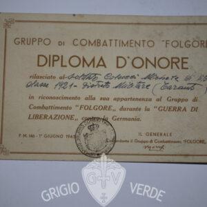 Diploma d'onore Gruppo di comb. Folgore paracadutisti